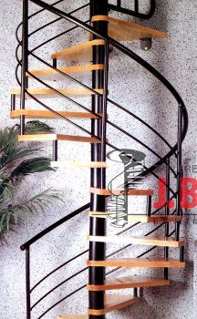 Escaleras caracol con madera Modelo M6 barandilla H3