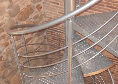 escalera caracol metlica modelo m barandilla h con pasamano metlico